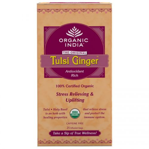 Чай Тулси Джинджер Органик Индия (Tulsi Ginger Tea Organic India) 25 пакетиков по 1.74 г